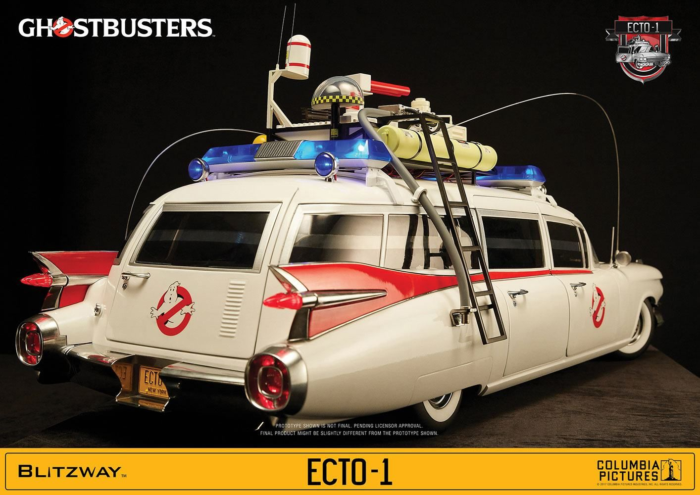ghostbusters ecto 1 1959 cadillac 1 6 scale vehicle. Black Bedroom Furniture Sets. Home Design Ideas