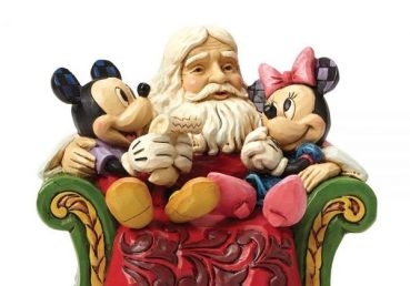 Santa with Mickey and Minnie Mouse Christmas Wishes Figurine