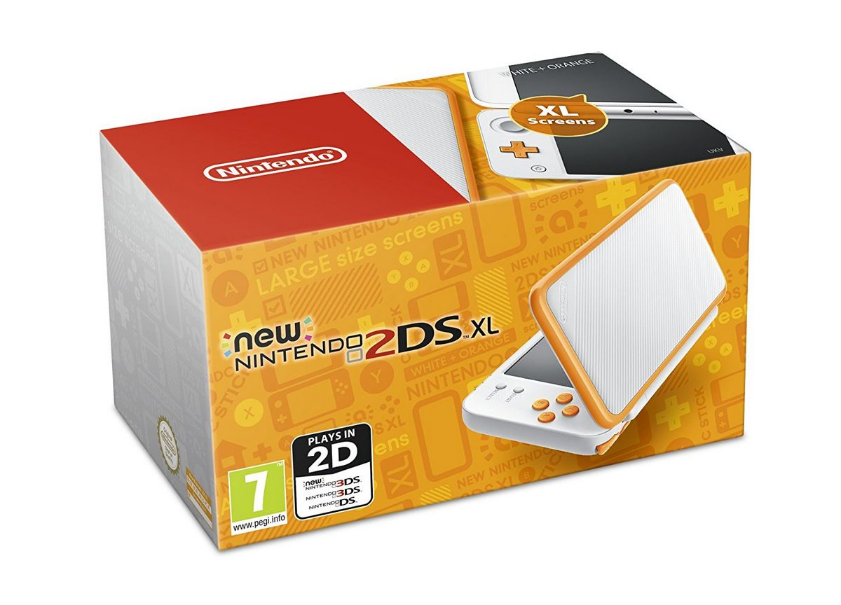 New 2ds xl white and orange console movie mania for Housse new 2ds xl