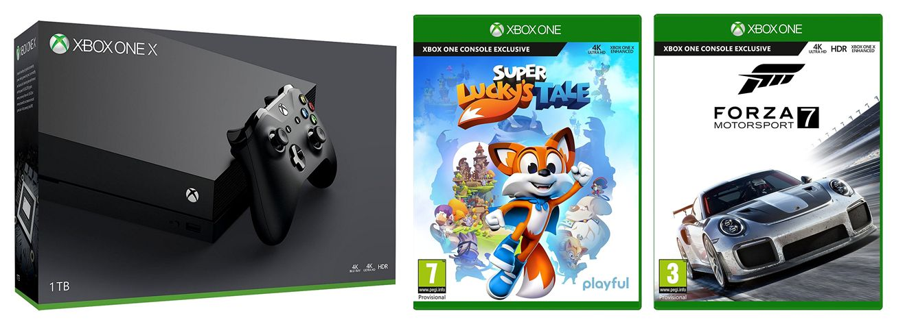 1tb xbox one x console with forza motorsport 7 and super luckys tale movie mania. Black Bedroom Furniture Sets. Home Design Ideas